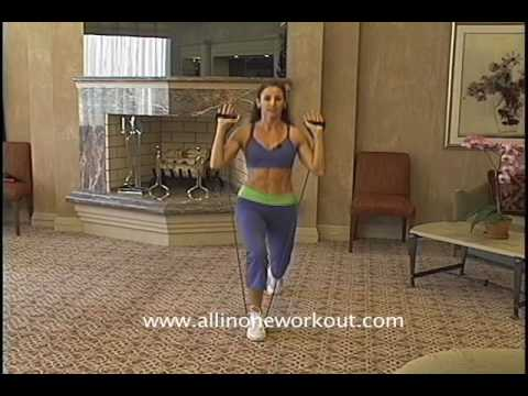 Stationary Lunges with Resistance Bands, no more knee pain, just great glutes!